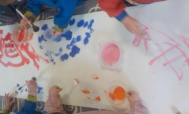 Peinture avec papier bulles